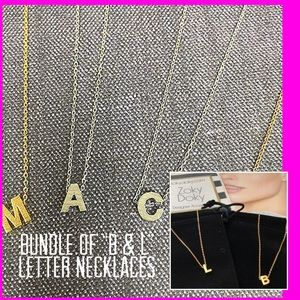 """Jewelry - Bundle of """"B & L"""" Initial Necklaces in the Silver"""